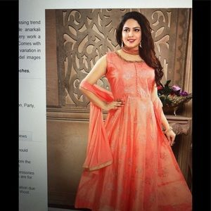 CHANDERI embroidery Anarkali suit in peach color